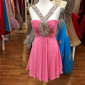 Pink prom dress with sequins